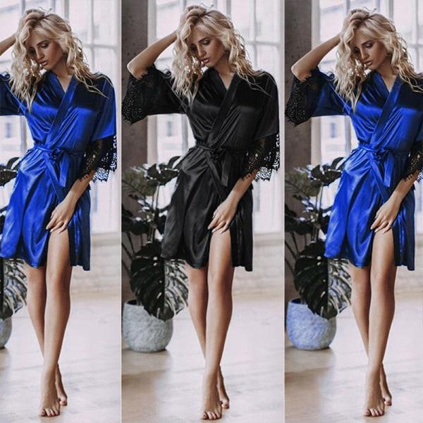 Kvinnor Sexig Satinsilke Nattkläder Spetsbrud Kimono Mantel Såft Blå S