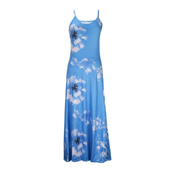 Kvinnor sommar v nacke ärmlös smal blomma tryckband parti casua Blå M
