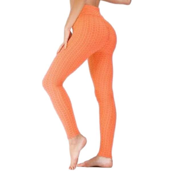 Kvinnor Yoga Gym Hög midja Comfort Running Leggings Slim Sport Ljus orange L