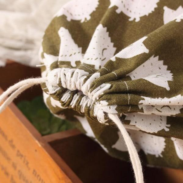 Skriva ut bomullslinne Resa hem Dragsko Väskor Tvättsäck Hedgehog storlek: s