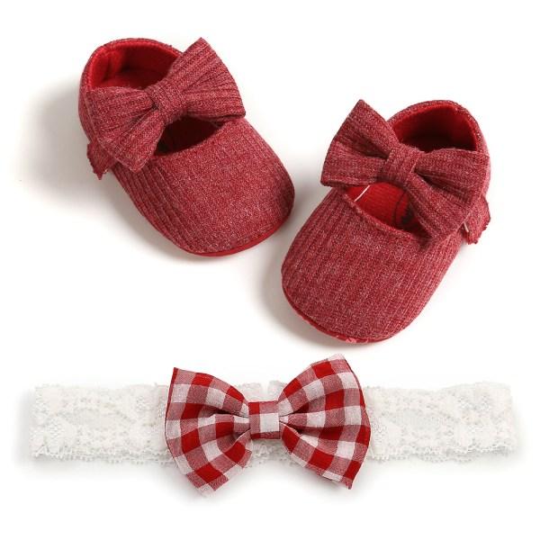 Spädbarn Flickaskor Nyfödda Småbarn Mjuk Sula Babyskor Röd 6-12 månader