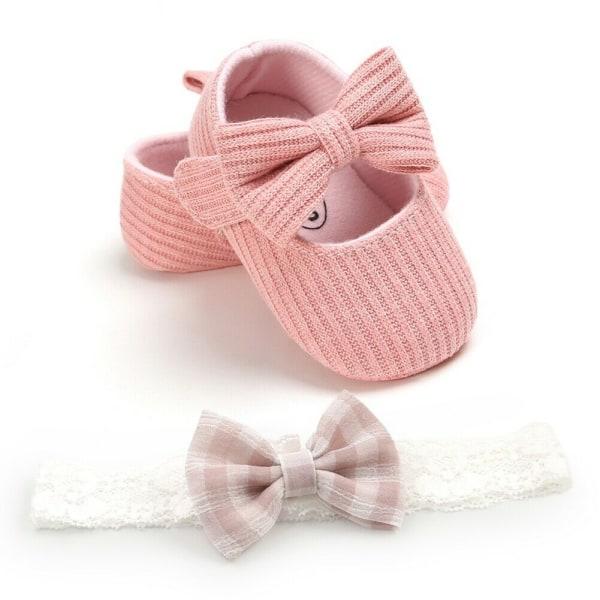Spädbarn Flickaskor Nyfödda Småbarn Mjuk Sula Babyskor Rosa 0-6 månader