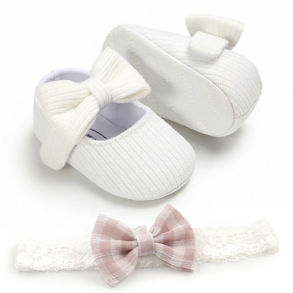 Spädbarn Flickaskor Nyfödda Småbarn Mjuk Sula Babyskor Vit 6-12 månader