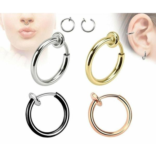 Unisex infällbar falsk ring Örhängen Rostfritt Stål Nej Behöver P