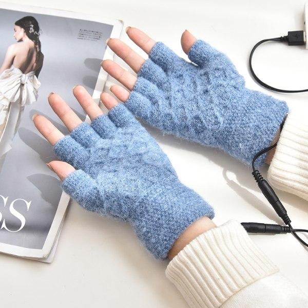 Vinter USB elektriska uppvärmda handskar stickade ull termiska Svart