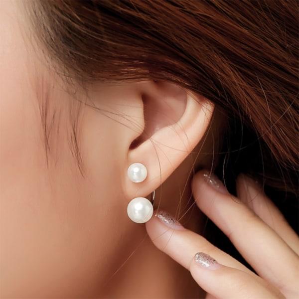 Silverörhänge: Dubbelörhänge med pärlor silver