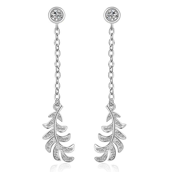 Silverörhänge: stenbeklätt löv silver