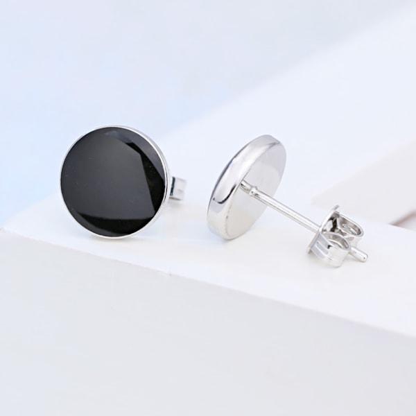 Silverörhänge unisex: stift med blanksvart top svart
