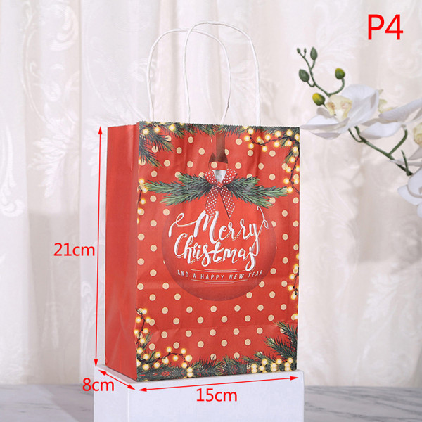 12st Kraftpapperspåse Jul Santa Claus presentpåsar med hand P4