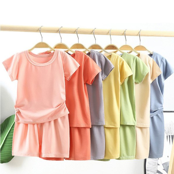 1 Set Kids Plain T-Shirt Toppar + Korta byxor Barn Baby sommar T-shirt