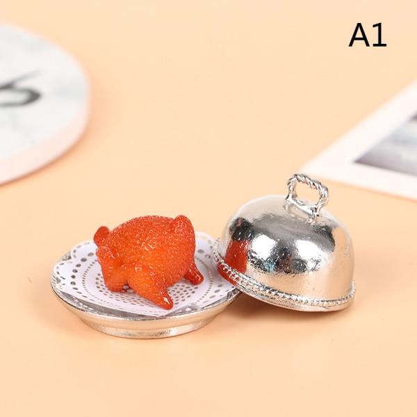 Dollhouse Miniature European tray + round cover + Turkey Christ A1