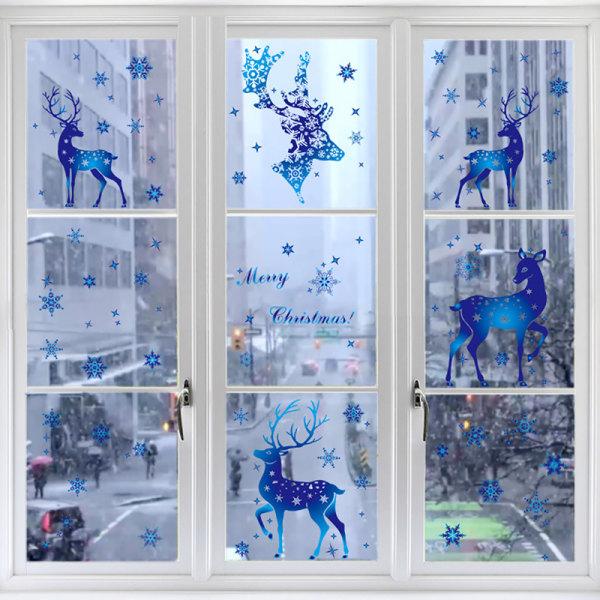Glasfönsterdekoration Elektrostatisk film Blå snöflinga älg C D
