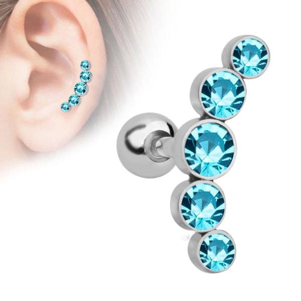 2st Crystal Gem Ear Tragus Örhängen Rostfritt stål Piercing Wo Pink