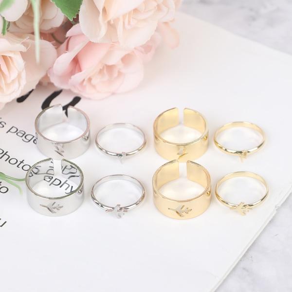 1 par vintage ringar för kvinnor män älskare par ring öppna cu Silver 1