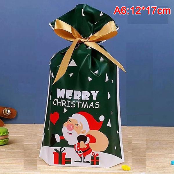 50x Santa Presentpåse Godisväska Snowflake Crisp Dragsko Väska Mer A6