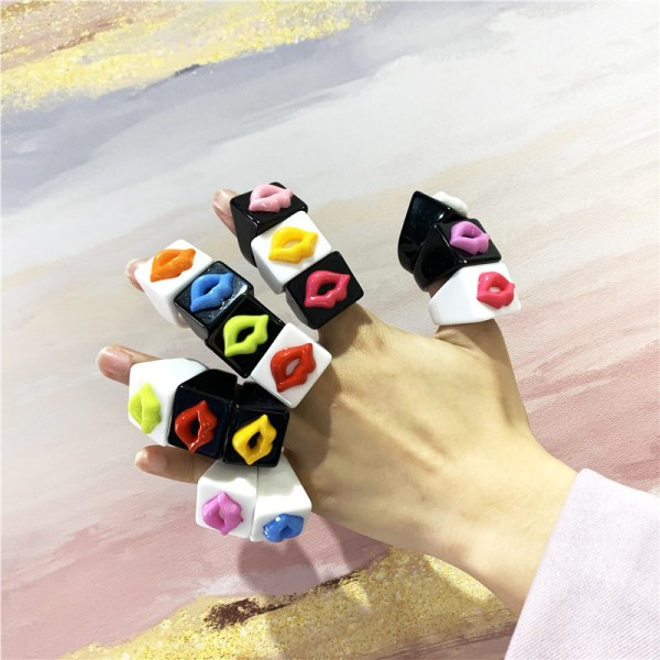 DIY Estetisk Rainbow mun för kvinnor Vintage handgjord harts Ri White random lips