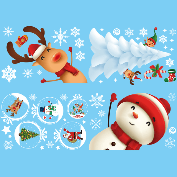 God jul Väggklistermärke Hem Väggglas klistermärken nyår P