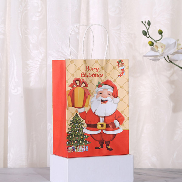 12st Kraftpapperspåse Jul Santa Claus presentpåsar med hand P3