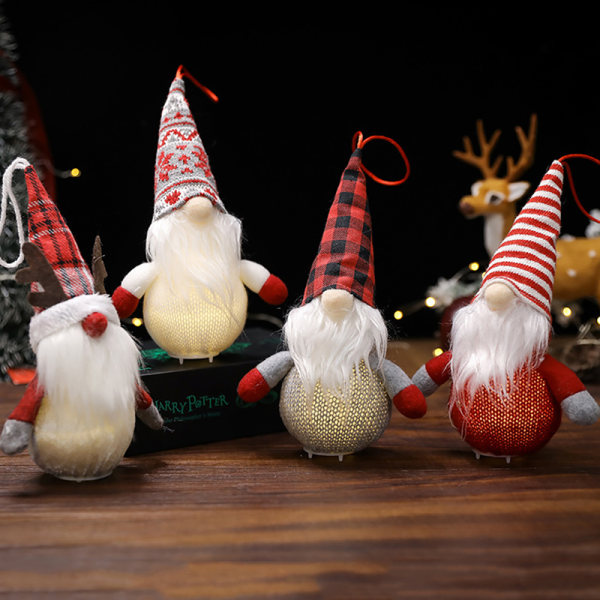 2022 Christmas Faceless Glow Doll Ornaments Old Man Doll Show W C