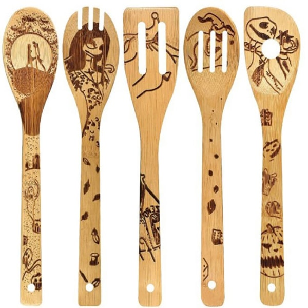 5 ST/Set Halloween Bamboo Wood Wok Shovels Slotted Spatula Spo 2