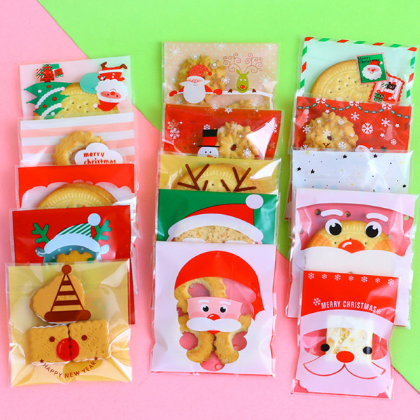 100PCS Plastkaka Presentkassar Jul Santa Snowman Snacks 07