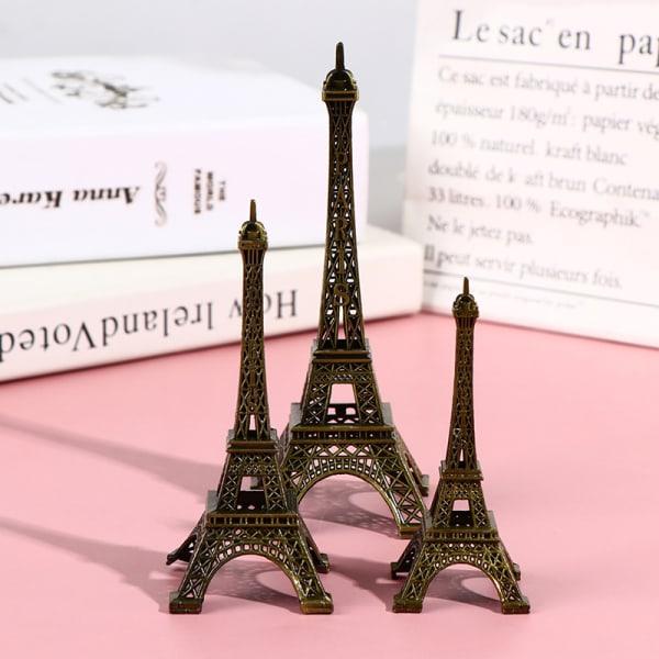 Retro Paris Eiffeltorns modell Hemmabänk Bronsmetallstaty Fi 13CM