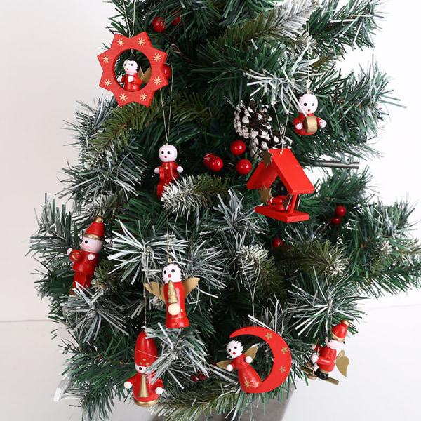 DIY Handgjorda trä julhängande trädockor Figurer Orna C