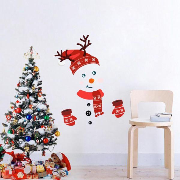 Julväggklistermärke Xmas Snowman Kylskåpsklistermärken Merry C