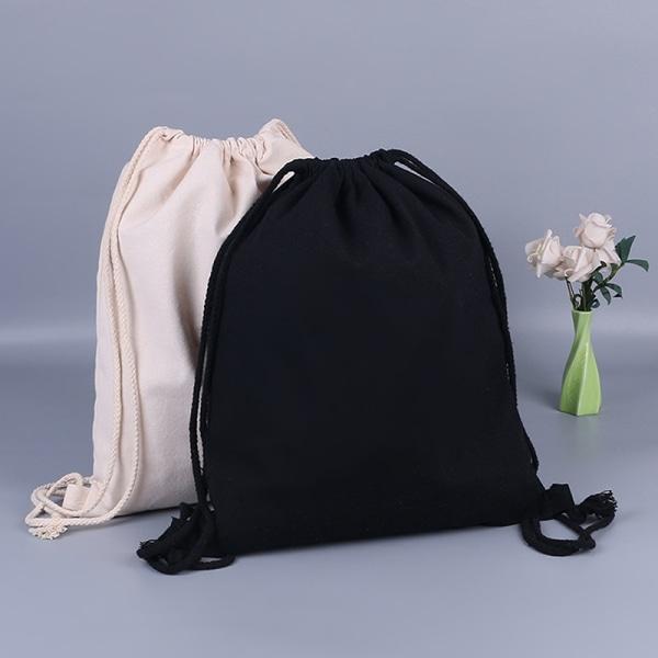 Canvasväska axlar dragsko buntfickor student ryggsäck Black