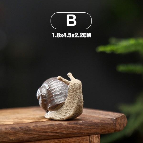 Keramiska små snigelprydnader Bonsai Micro Landscape Home Decor B