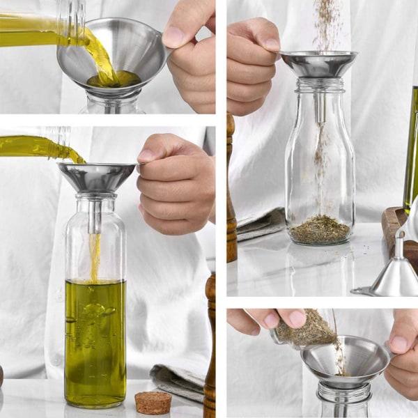 3st Rostfritt stål Kotte Tratt Häll Olja Vin Flytande Behållare Ki A
