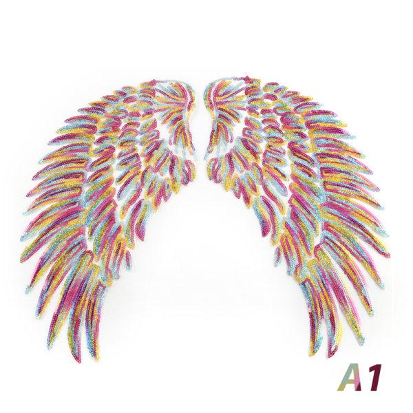 Broderi Angel Wing Sömnad Flower Collar Patch För Bridal Dr. A1