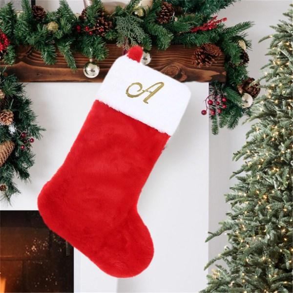 Kände julstrumpor, 20 '' höjd, med gyllene bokstav, Chr Red Q
