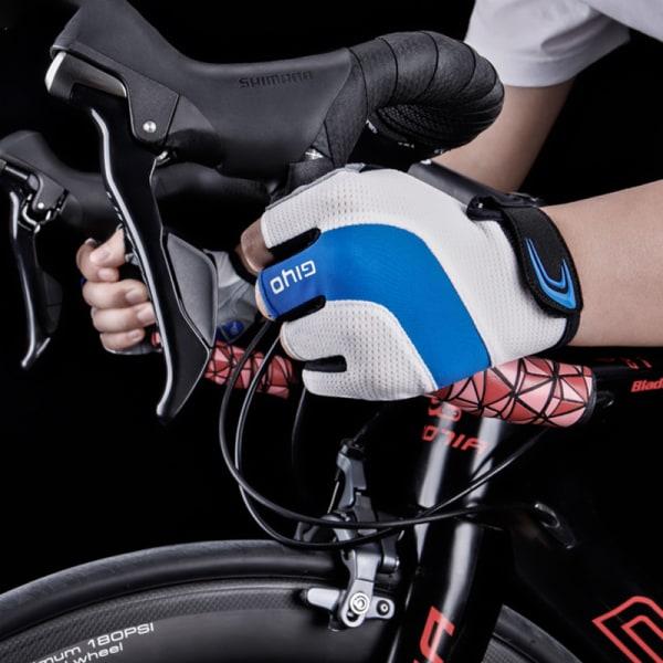 andningsbart lycratyg unisex cykelhandskar vägcykel halv Red L