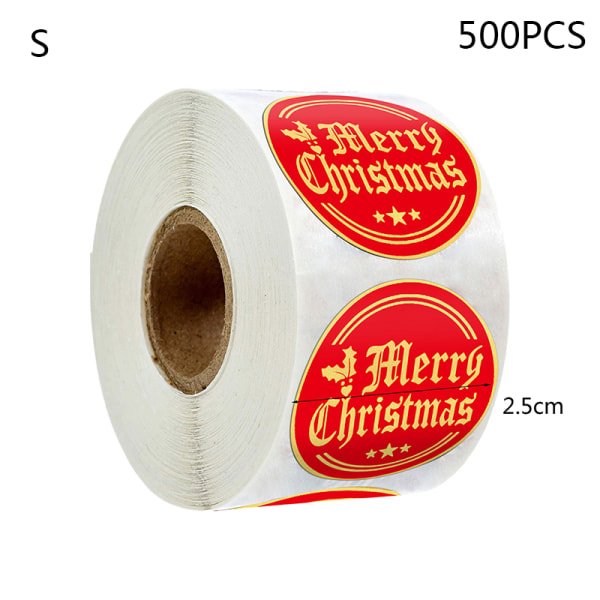 500st/rulle Rödguld Merry Christmas Snowflake Stickers Scrapbo S