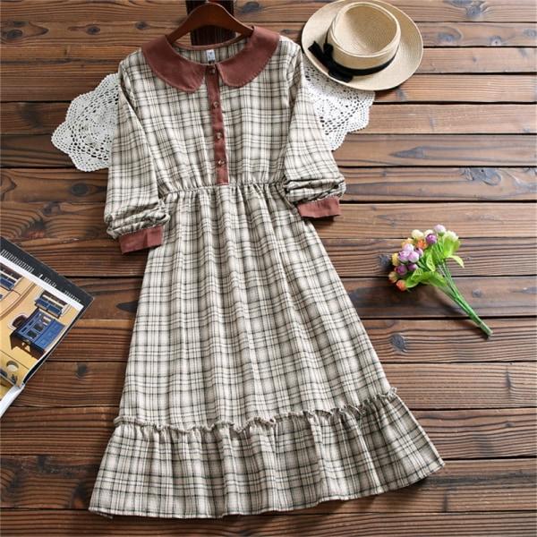 bomulls- och hampadockkrage långärmad smal klänning Khaki XL
