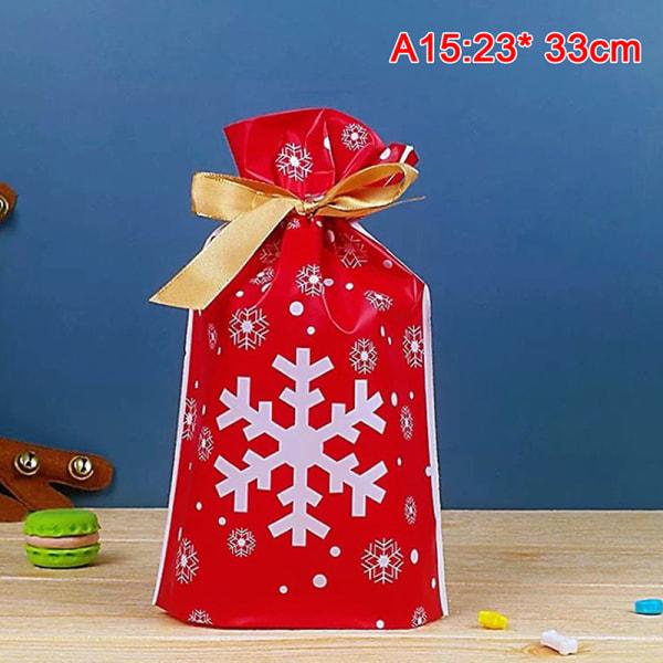 50x Santa Presentpåse Godisväska Snowflake Crisp Dragsko Väska Mer A15