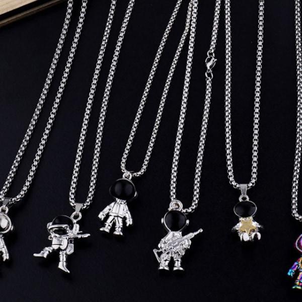 Hip Hop Fashion Titanium Steel Astronaut Necklace Charms Pendan B