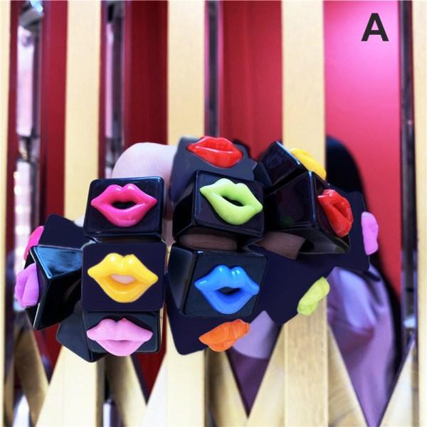 DIY Estetisk Rainbow mun för kvinnor Vintage handgjord harts Ri Black random lips
