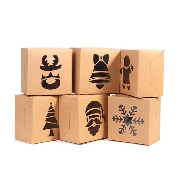 8st Christmas Kraft Paper Cookie Presentaskar Candy Box Bags Pa D