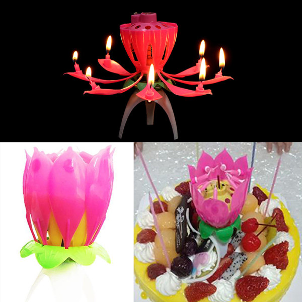 DIY Party Cake Candle Musical Lotus Flower Candle