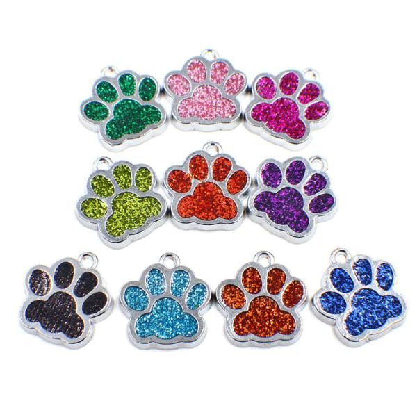 hund tagg graverad hund krage valp husdjur id namn tass glitter pendan Dark blue 15*18mm