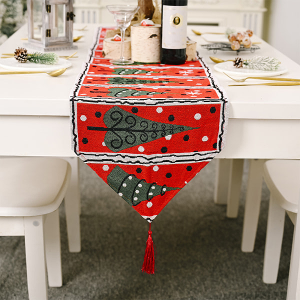 Juldekoration Linnedryckt bordsdukunderlägg för hemmet C