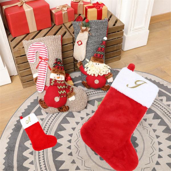 Kände julstrumpor, 20 '' höjd, med gyllene bokstav, Chr Red ONE SIZE