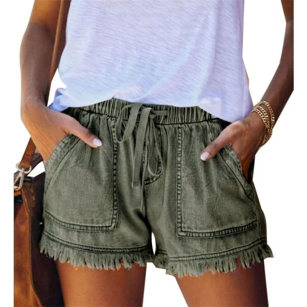 elastisk midjeband avslappnad shorts med hög midja Army green L