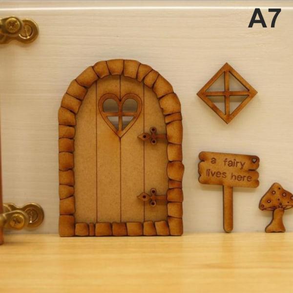 DIY Wooden Fairy Elf Door Craft Kit Juldörrsdekoration A7