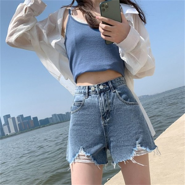 jeansshorts slet hög midja sommar streetwear baggy bred Dark gray M