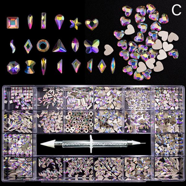 nail art rhinestones kit akryl boxad 21 galler blandad storlek uppsättning 1 C