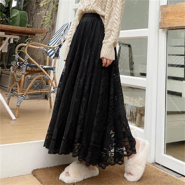 ny vår och sommar kvinnors midja gasbind spets kjol tunn a-li Apricot XL