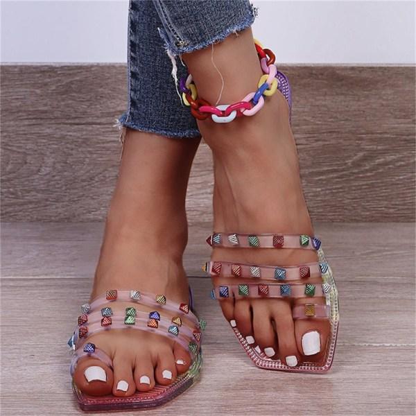 plus storlek sommar strand sandaler mode strass damskor Multicolour 42